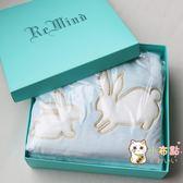 交換禮物-兒童寶寶禮品毯子新生兒禮物禮盒毛毯加厚小兔子繡花法蘭絨小毛毯