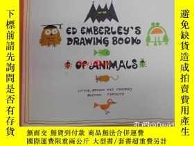 二手書博民逛書店Ed罕見Emberley's drawing post card book of animals洋書繪本