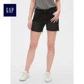 Gap女裝 時尚水洗休閒牛仔短褲 女士潮流毛邊褲子夏季 440666-正黑色