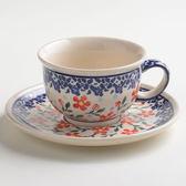 波蘭陶 藍印紅花系列 花茶杯盤組 220 ml 波蘭手工製