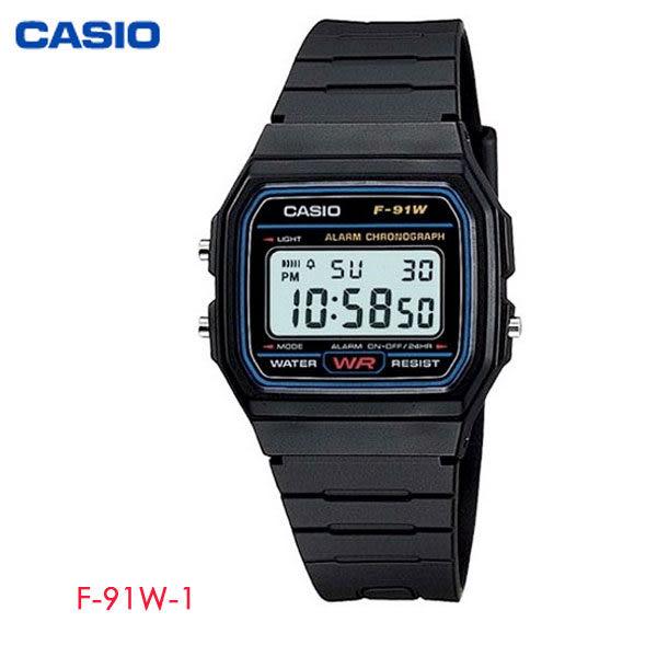 CASIO 黑藍方形輕便多功能電子錶 F-91W-1 學生錶 當兵軍用錶 工作錶 公司貨保固1年 | 高雄名人鐘錶