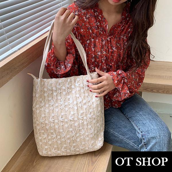 OT SHOP [現貨] 單肩背 手提 米白蕾絲購物袋 草編編織包 水桶包 大容量 拉鍊式 韓式小清新 H2057