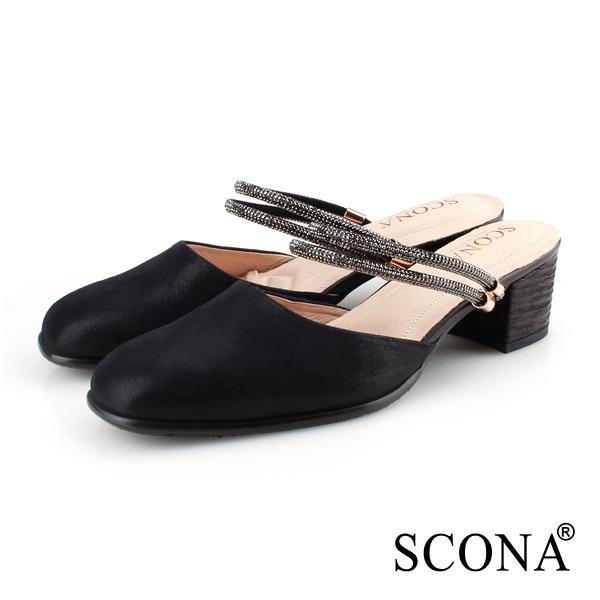 SCONA 蘇格南 全真皮 優雅2way穆勒跟鞋 黑色 31083-1