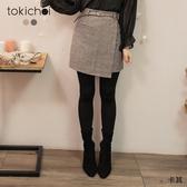 東京著衣-tokichoi-優雅欣喜假一片式混色磨毛附腰帶A字短裙-S.M.L.XL(192038)