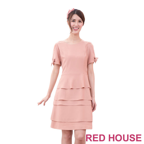 【RED HOUSE-蕾赫斯】蕾絲蝴蝶結袖蛋糕洋裝(粉橘色)