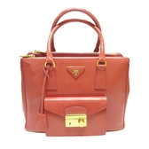 PRADA 普拉達 粉紅色漆皮金扣手提斜背兩用包 2way Bag 【二手名牌BRAND OFF】