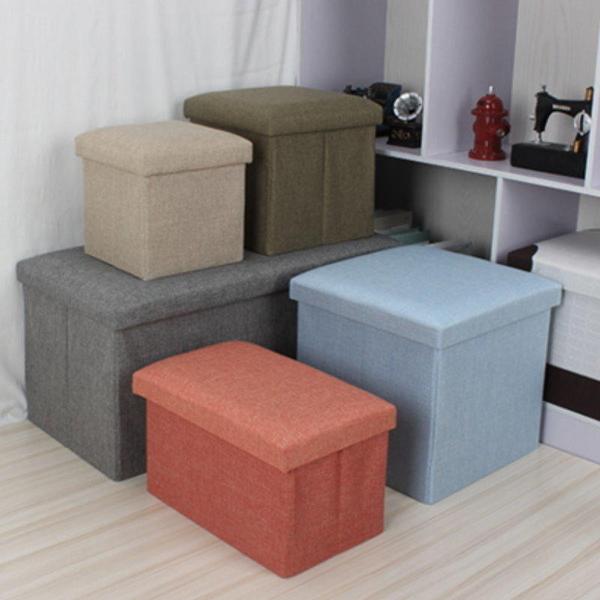 【GK185】簡約布藝儲物收納凳40x25x25CM 折疊換鞋凳 有蓋收納箱 收納椅子★EZGO商城★