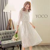 東京著衣【YOCO】春光氣息透肌蕾絲雕花刺繡洋裝-S.M.L(180116)