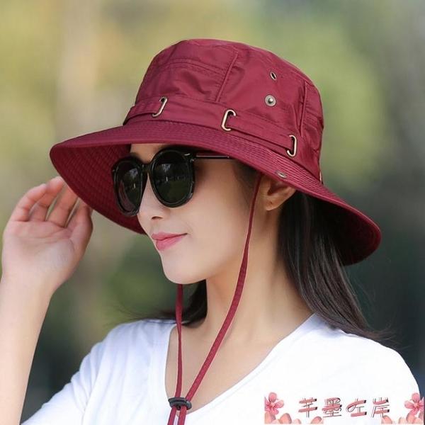 漁夫帽帽子女夏季太陽帽女防曬帽可折疊早春透氣遮陽戶外登山休閒漁夫帽 芊墨左岸
