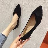 平底單鞋女春季新款尖頭一腳蹬豆豆女鞋軟底大碼上班黑色辦公室鞋