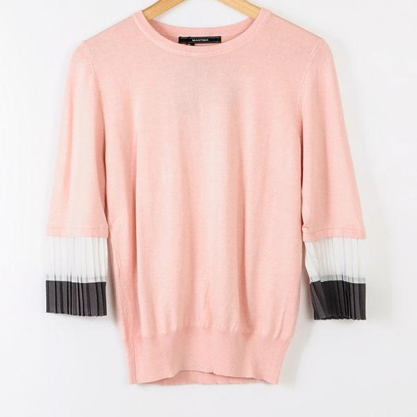 【MASTINA】袖口百摺設計款毛衣-粉 冬末好康