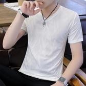 V領T恤新款冰絲短袖T恤男青少年V領韓版修身學生體恤半袖上衣薄款夏速幹非凡小鋪