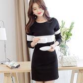 洋裝 韓版女裝短裙大碼長袖修身顯瘦連身裙打底裙女 米蘭街頭