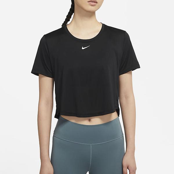 NIKE Dri-FIT One 女裝 短袖 短版 前短後長 圓弧 透氣 排汗 黑【運動世界】DD4955-010