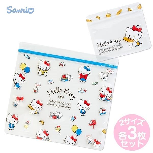 日本限定 三麗鷗 HELLO KITTY 麵包&居家風版 夾鏈袋/收納袋 套組 全兩種 / 各3枚
