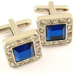 時尚優雅袖釘 銀色鑲鑽邊框藍水晶男士袖扣 IFSONG 565