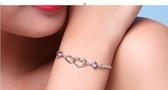 純銀手鍊女日韓版簡約學生小眾設計閨蜜手鐲情侶個性漸凍人