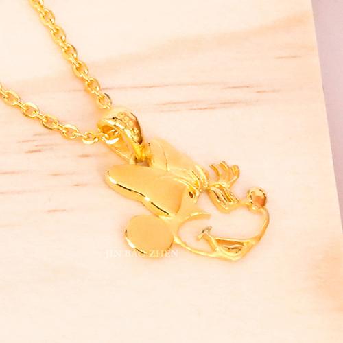 迪士尼系列金飾-黃金墜子-童話美妮(加贈金色鋼鍊)