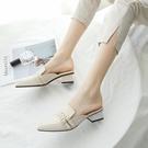 包頭半拖小CK鞋女外穿2021年新款中跟粗跟百搭尖頭穆勒鞋懶人涼拖 伊蘿 618狂歡