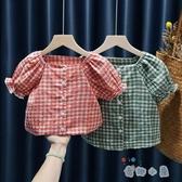 兒童襯衣女童襯衫夏季國小寶寶格子短袖上衣娃娃衫【奇趣小屋】