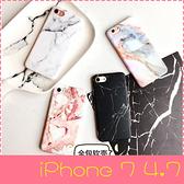 【萌萌噠】iPhone 7  (4.7吋)  創意簡約款 大理石紋路保護殼 全包矽膠軟殼 手機殼 手機套