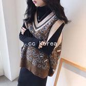 復古豹紋V領寬鬆針織背心 CC KOREA ~ Q25285
