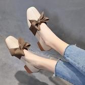 一腳蹬懶人鞋 奶奶鞋女秋季2019新款韓版百搭粗跟鞋子一腳蹬復古中跟淺口單鞋女 玫瑰