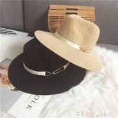 帽子女夏天黑色遮陽度假巴拿馬草帽夏季英倫韓版寬檐沙灘爵士禮帽 「潔思米」