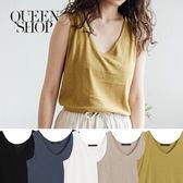 Queen Shop【01150131】圓領棉麻感無袖背心 五色售*現+預*