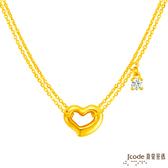 J'code真愛密碼 好愛妳黃金項鍊-硬金雙鍊款