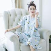 純棉睡裙女夏季韓版睡衣女士寬鬆大碼外穿