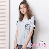 betty's貝蒂思 可愛小貓插圖前口袋T-shirt(淺藍)