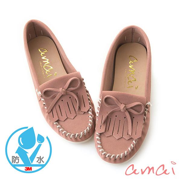 amaiMIT台灣製造。《3M防水麂皮》流蘇內增高豆豆鞋 粉