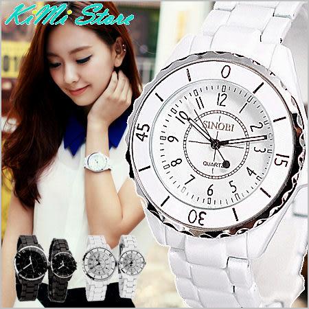 時尚風圓面金屬帶腕錶 日韓熱賣時尚款 陶瓷工藝 節日最佳禮物 對錶男女錶【KIMI store】