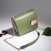 【O-ni O-ni】真皮新款韓版牛皮單肩包女士純色小方包JZL-8887--橄欖綠色