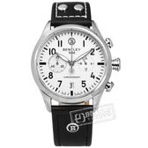 BENTLEY 賓利 / BL1684-30WWB / 德國製造 藍寶石水晶玻璃 計時碼錶 真皮手錶 銀白x黑 43mm