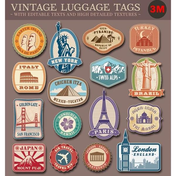 國家名勝行李箱貼紙 復古懷舊rimowa拉桿貼紙 3m款旅行箱貼