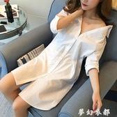 白色襯衫女長袖中長款韓版新款BF性感襯衣寬鬆大碼打底睡衣風 雙十二全館免運