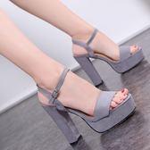 歐美時尚粗跟超高跟涼鞋女鞋絨面防水臺一字扣女涼鞋性感顯瘦 居享優品