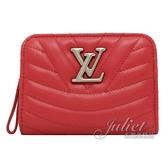 Louis Vuitton LV M63790 New Wave 小牛皮對開零錢短夾.紅色 全新 現貨【茱麗葉精品】
