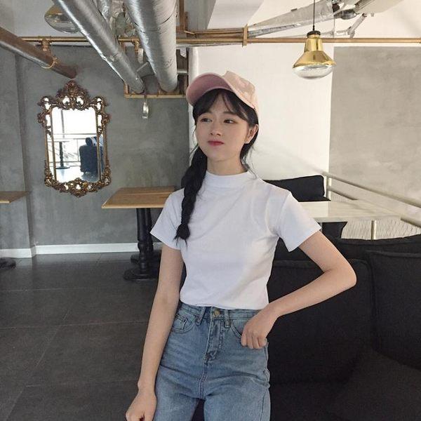 半高領短袖T恤chic上衣女春裝2018新款韓版百搭打底衣服體恤學生 麻洋