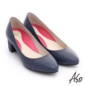 A.S.O 職場女力 壓紋牛皮粗跟高跟鞋  深藍