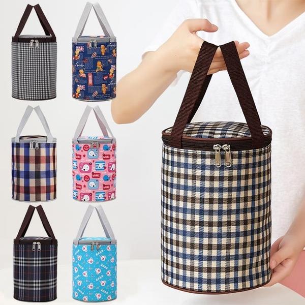飯袋便當包保溫桶袋子手提圓形飯盒袋便當盒飯桶保溫袋帶飯手提袋 夢幻小鎮