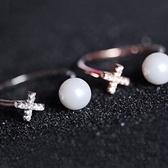 戒指 925純銀 鑲鑽-珍珠造型生日情人節禮物女開口戒2色73dv26【時尚巴黎】