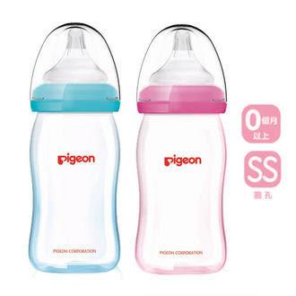 貝親PIGEON矽膠護層母感玻璃奶瓶240ML 藍/粉 M奶嘴