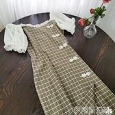 短袖洋裝20962復古短袖旗袍國風格子泡泡袖連身裙女夏2020夏小清新 伊蒂斯