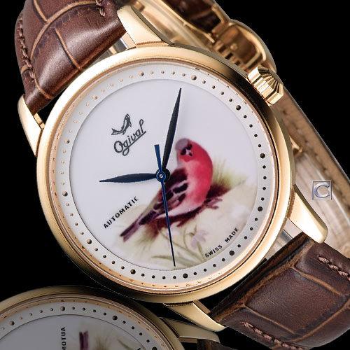 Ogival 愛其華 微砌彩繪機械腕錶-鳥 1929-24.3AGR