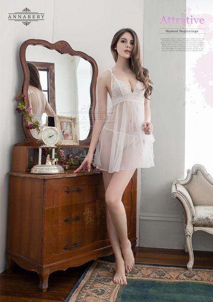 情趣用品  大尺碼睡衣 純白雙層交疊薄紗二件式透視薄紗睡衣+丁字褲 性感襯衣