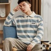長袖T恤男條紋翻領純棉韓版寬松打底衫【左岸男裝】