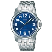 【CASIO】 夜間螢光休閒錶-數字藍面(MTP-1216A-2B)